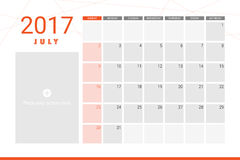 July 2017 calendar. With space for picture Royalty Free Stock Photography