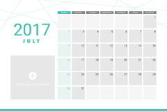 July 2017 calendar. With space for your pictures Royalty Free Stock Image