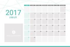 July 2017 calendar Royalty Free Stock Image