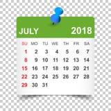 July 2018 calendar. Calendar sticker design template. Week start. S on Sunday. Business vector illustration Royalty Free Stock Image