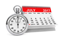 July 2017 calendar with stopwatch. 3d rendering. 2017 year calendar. July calendar with stopwatch on a white background. 3d rendering Royalty Free Stock Image