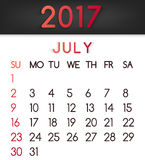 July 2017 calendar vector in a flat style in red tones. Week starts on Sunday Royalty Free Stock Images