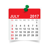 July 2017 calendar. July 2017. Calendar vector illustration Stock Photography