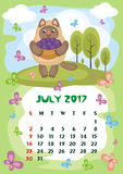July 2017 calendar. Wall calendar for July,  2017 with an amusing cat. Fun children`s illustration in cartoon style. Colorful background. Vertical orientation Royalty Free Stock Photo