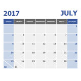2017 July calendar week starts on Sunday. Stock vector Royalty Free Stock Photo