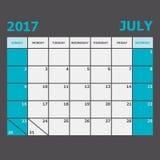 July 2017 calendar week starts on Sunday. Stock vector Stock Photos