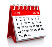 July 2018 Calendar. On White Background. 3D Illustration Royalty Free Stock Photo