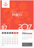 July 2017. Calendar 2017. July 2017. Calendar for 2017 Year. 2 Months on Page. Vector Design. Template with Place for Photo and Company Logo Royalty Free Stock Photos