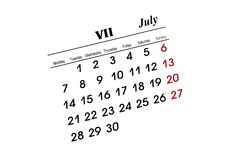 July calender. Over white background Stock Image