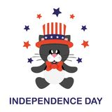 4 july cartoon cute black cat in hat sitting with stars and text. Vector image of a 4 july cartoon cute black cat in hat sitting with stars and text vector illustration