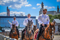 July 25, 2015. Ceremonial presentation of the Kremlin Riding School on VDNH in Moscow. July 25, 2015. Ceremonial presentation of the Kremlin Riding School on Stock Photo