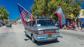 JULY 4, 2016 - Citizens of Ojai California celebrate Independence Day - 1960's Corvair with flag Stock Image