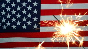 4 of july concept with sparkler stock video footage