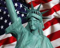 4 July conceptual liberty. Statue of Liberty with USA flag 3d render model Royalty Free Stock Photography