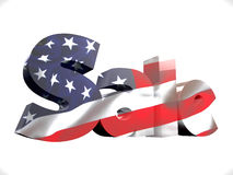 4 July conceptual SALE text. Statue of Liberty with USA flag 3d render model Stock Photos