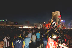 July 15 Coup Attempt Protests in Istanbul. Istanbul, Turkey - July 23, 2016: Turkish people and football clubs supporters at Taksim Square. The meetings were Royalty Free Stock Photos