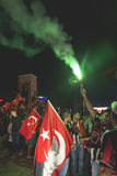 July 15 Coup Attempt Protests in Istanbul. Istanbul, Turkey - July 23, 2016: Turkish people and football clubs supporters at Taksim Square. The meetings were Royalty Free Stock Image