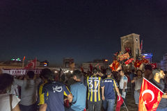 July 15 Coup Attempt Protests in Istanbul. Istanbul, Turkey - July 23, 2016: Turkish people and football clubs supporters at Taksim Square. The meetings were Stock Images