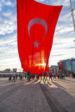 July 15 Coup Attempt Protests in Istanbul. Istanbul, Turkey - July 23, 2016: Turkish people gathering and waving flags at Taksim Square. The meetings were called Royalty Free Stock Image