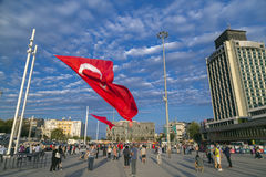 July 15 Coup Attempt Protests in Istanbul. Istanbul, Turkey - July 23, 2016: Turkish people gathering and waving flags at Taksim Square. The meetings were called Royalty Free Stock Photos
