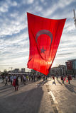 July 15 Coup Attempt Protests in Istanbul. Istanbul, Turkey - July 23, 2016: Turkish people gathering and waving flags at Taksim Square. The meetings were called Royalty Free Stock Photo