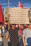 July 15 Coup Attempt Protests in Istanbul. Istanbul, Turkey - July 23, 2016: Turkish people gathering and waving flags at Taksim Square. The meetings were called Stock Images