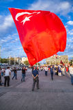 July 15 Coup Attempt Protests in Istanbul. Istanbul, Turkey - July 23, 2016: Turkish people gathering and waving flags at Taksim Square. The meetings were called Stock Photography