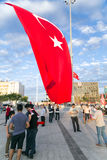 July 15 Coup Attempt Protests in Istanbul. Istanbul, Turkey - July 23, 2016: Turkish people gathering and waving flags at Taksim Square. The meetings were called Royalty Free Stock Images