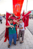 July 15 Coup Attempt Protests in Istanbul. Istanbul, Turkey - July 23, 2016: Turkish people gathering and waving flags at Taksim Square. The meetings were called Stock Photo