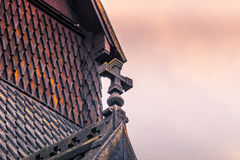 July 24, 2015: Cross of the Urnes Stave Church, UNESCO site, in Stock Photography