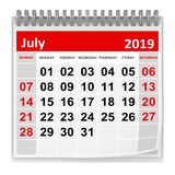 July 2019 royalty free illustration