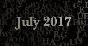 July 2017 - 3D rendered metallic typeset headline illustration Royalty Free Stock Photography