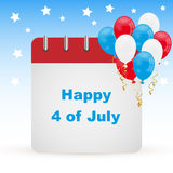 4th of july day calendar. 4 of july calendar day icon with colorful balloons on sky background and stars. EPS file available Royalty Free Stock Photo