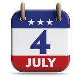 July 4 Day. Fourth of July USA calendar  on white Royalty Free Stock Photos