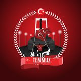 Vector 15 july Day Turkey. Translation of title in Turkish is 15 July The Democracy and National Unity Day of Turkey. 15 july Day Turkey. Translation of title Royalty Free Stock Photography