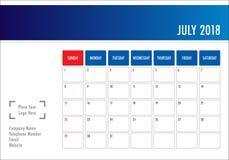 July 2018 desk calendar vector illustration. Simple and clean design Royalty Free Stock Image