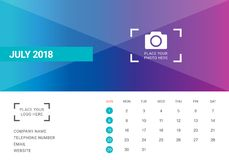 July 2018 desk calendar vector illustration. Simple and clean design Stock Images
