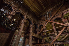 July 24, 2015: Details inside Urnes Stave Church, UNESCO site, i Stock Photos