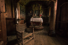 July 24, 2015: Details inside Urnes Stave Church, UNESCO site, i Stock Photo