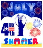 July Events Clip Art Set/eps. Illustrated clips for July events including Fourth of July, Statue of Liberty, fireworks and a headline for July Royalty Free Stock Images