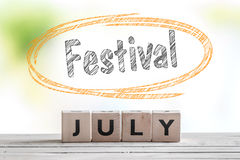 July festival message on a stage Royalty Free Stock Photos