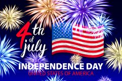 4 july Fireworks background for Independence Day vector. Art stock illustration