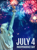 July 4 Fireworks with the Statue of Liberty. July 4th Fireworks Poster Featuring the Statue of Liberty Stock Photo