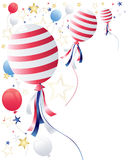 July fourth balloons. An illustration of party balloons with star confetti in celebration of july fourth on a white background Royalty Free Stock Images