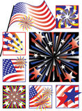 July Fourth Celebrations-Gradient Colors. A collection of 8 vector illustrations celebrating America's Independence Day using gradient colors Stock Photos