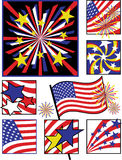 July Fourth Celebrations-Solid Colors. A collection of 8 vector illustrations celebrating America's Independence Day Stock Photo