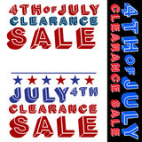 July Fourth Clearance Sale Signs Royalty Free Stock Photos