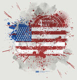 July fourth. Grunge background vector. Grunge print for t-shirt. Abstract dirt backgrounds texture. Grunge banner with Royalty Free Stock Photos