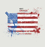 July fourth. Grunge background vector. Grunge print for t-shirt. Abstract dirt backgrounds texture. Grunge banner with Stock Photos