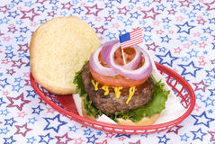 July fourth hamburger Royalty Free Stock Photography